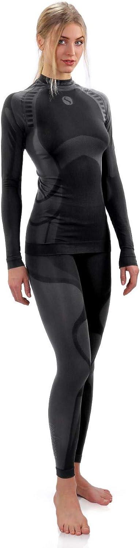 Sesto Senso Damen Funktionsunterw/äsche Set Langarm Shirt Lange Unterhose Sportunterw/äsche