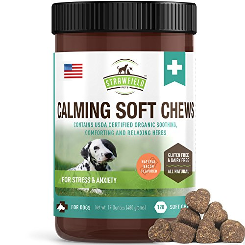Calming Treats for Dogs Anxiety Relief - 120 Soft Chews - Stress Relief for Dog Separation Anxiety, Natural Calm Aid Supplement for Barking, Aggressive, Motion Sickness, Thunder - Strawfield Pets, USA