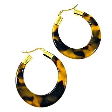 Amazon Com Tortoise Shell Hoop Earrings Acrylic Resin Earrings