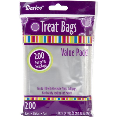 (Darice Clear Value Pack, 3 x 4.75 inches, 200 Pieces Treat Bags, 3 by 4.75-Inch, Transparent)