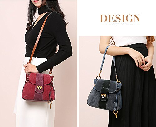 Bag Lady Leather Women's Saddle Retro JiYe Shoulder Simple Bag Red Handbag Handbags By xSfYqw8f