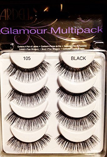 199c33e293e Amazon.com : Ardell Glamour Multipack 4 Pair Lashes, 105 Black : Beauty