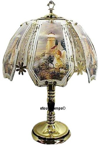 - Angel & Lighthouse Touch Lamp with Polished Brass Base