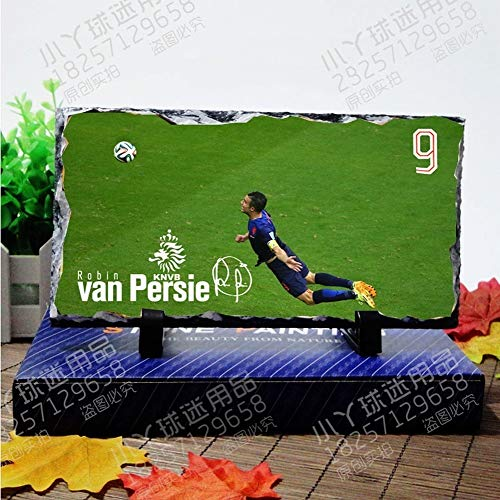 MTX Ltd World Cup Football Teams Football Superstar Football Fans Natural Rock Inkjet Ornaments for Football Fans to Commemorate, Home Decoration, Van Persie, 12220.7cm