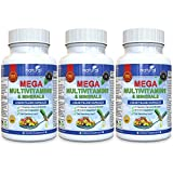 Cheap 3 PACK of MEGA MULTIVITAMIN Multi-Vitamins & Minerals Supplement. Everyday Liquid Multivitamins Capsules for Adult Men & Women Daily Health