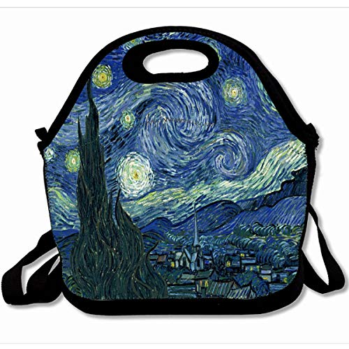 Ahawoso Reusable Insulated Lunch Tote Bag Starry Night Van Fine Stary Oil Work 10X11 Zippered Neoprene School Picnic Gourmet Lunchbox