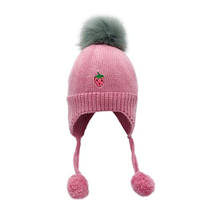 c3480c15c4a Image Unavailable. Image not available for. Color  Inkach Baby Earflaps  Hats Pom Poms Winter Warm Knit Hat ...