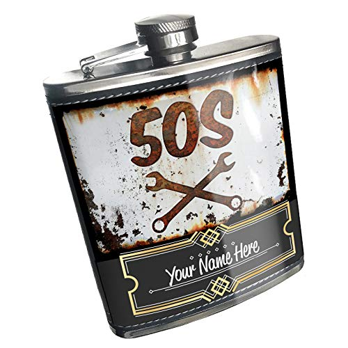 Neonblond Flask Rusty old look car 50s Custom Name Stainless Steel]()