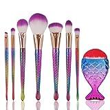 Makeup Brush Kit Cosmetics Set, YJM 2018 Makeup Brushes Set 11pcs 3D Mermaid Makeup Brush Cosmetic Brushes Eyeshadow Eyeliner Blush Brushes (Hot Pink)