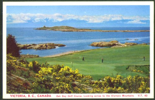 Oak Bay Golf Course Victoria BC postcard 1950s