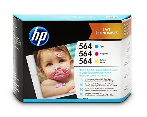 HP 564 Cyan, Magenta & Yellow Ink Cartridges with Photo Paper and Cards, 3 Cartridges (J2X80AN)