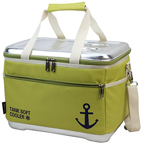 INNO STAGE 40 Can Insulated Cooler Tote Bag-18L Insulated Waterproof Picnic Box-Collapsible Thermal Travel Beverages Carrier Case with Hard EVA Molded Top Lid Table and 2 Drink/Cup Holders (Foam Molded Hard)