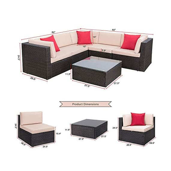 Homall 6 Pieces Patio Furniture Sets Outdoor Sectional Sofa All Weather PE Rattan Patio Conversation Set Manual Wicker Couch with Cushions and Glass Table (Beige) - Widely used: It can satisfy 4-5 people to eat and talk comfortably without feeling crowded. Suitable for your courtyard, patio, backyard and poolside, and it will make your space more modern and elegant. Free combination: In order to give you and your family more comfortable experience and more choices, we designed this Homall set. It can be rearranged in a variety of ways to fit your decorations or space. Easy to clean: Cushions are equipped with zippers for easy disassembly and are washable. The easily removable tempered glass on the table is very convenient to clean after use, meanwhile is very firm. - patio-furniture, patio, conversation-sets - 51z5bVbzzCL. SS570  -