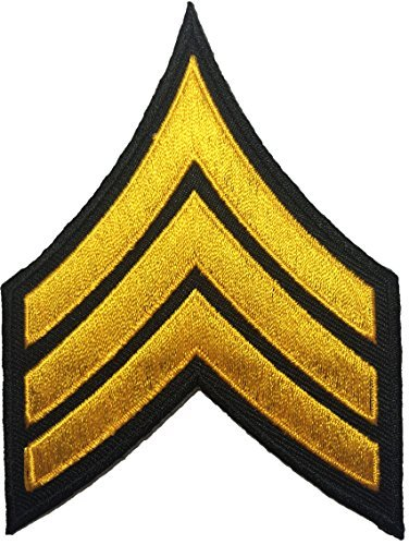 Papapatch Chevrons Sergeant E-5 Stripes US Army Rank Sew on Iron on Arms Shoulder Embroidered Applique Patch - Black and Yellow (IRON-CHEV-BKGL) (Army Chevron)