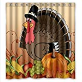 thanksgiving turkey with pumpkin Waterproof Bathroom Fabric Shower Curtain,Bathroom decor 66