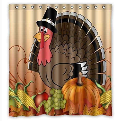 thanksgiving turkey with pumpkin Waterproof Bathroom Fabric Shower Curtain,Bathroom decor 66 ersisi