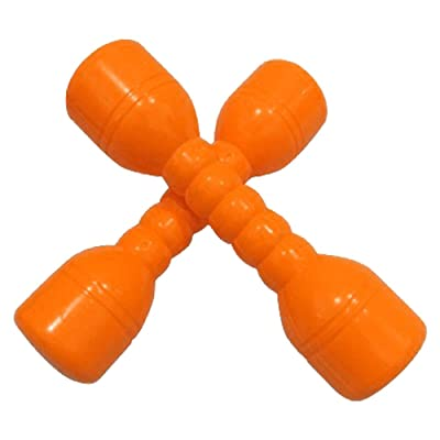 NiceButy Kids Plastic Dumbbell Toy for Morning Exercises Fitness Sport Toys Children Fun Toy (Orange) 2Pcs: Sports & Outdoors