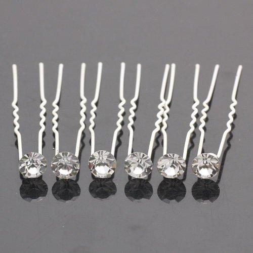 Leegoal 6 pcs Crystal Rhinestones Hair Pins