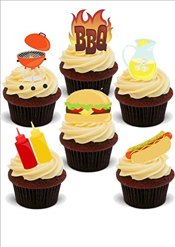 SUMMER BBQ MIX - Novelty PREMIUM STAND UP Edible Wafer Paper Cake Toppers -