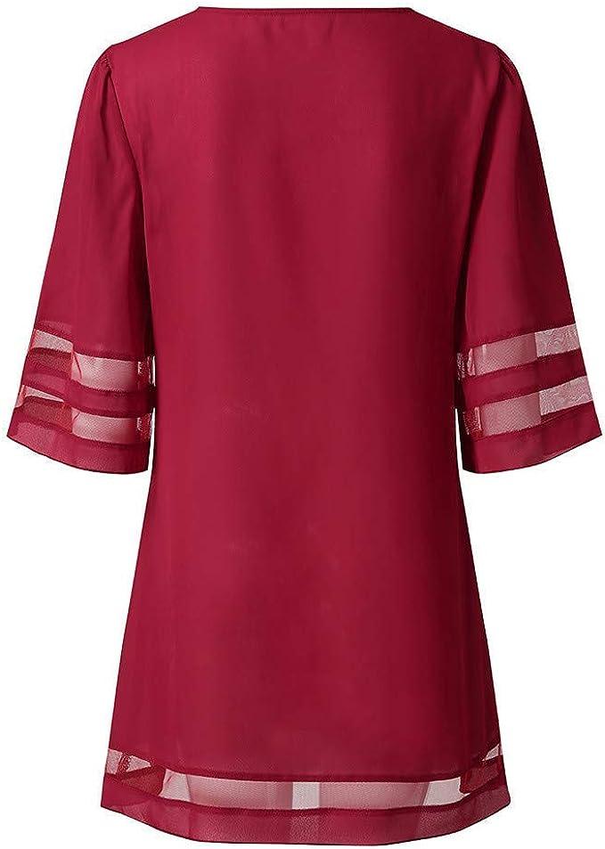 Kneris Mujer Vestido Casual de Vestidos Cuello En V Túnica Camisas ...
