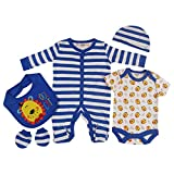 Presents Gifts For Newborn Baby Boys Girls Toddler Unisex Cute Clothing Sets Sleepsuit Vest Bib Hat 0-3 Months Outfits Bundles Pack Blue Lion Cat Theme Animals Christening Baby Shower First Christmas