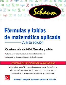 FORMULAS Y TABLAS DE MATEMATICA APLICADA (Schaum): Amazon.es ...