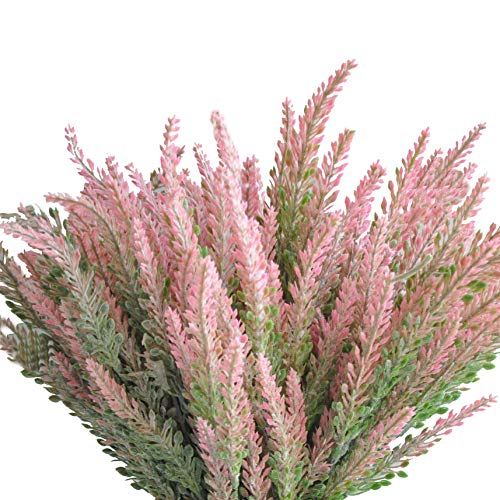 cn-Knight Artificial Flower 12pcs 15'' Faux Lavender with 5 Sub-Stems Fake Flower Lavandula for Wedding Bridal Bouquet Bridesmaid Groomsman Corsage Home Décor Office Baby Shower Centerpiece(Pink)