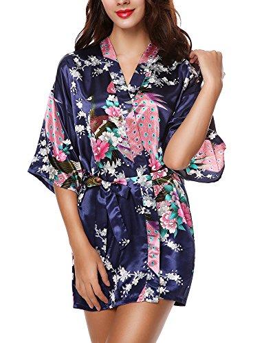 Lingerie Print Floral Kimono Short Avidlove Pajama Womens Satin Dark fba Blue w5q5TRC