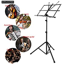 Adjustable Lightweilght Folding Music Stand Metal Sheet Tripod Holder With Carrying Bag