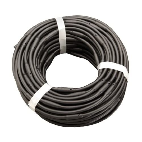 """1/4"""" x 100' Soaker Hose Dripline 6"""" Spacing 1/2 GPH Dripline Irrigation Emitters - Black Tubing"""