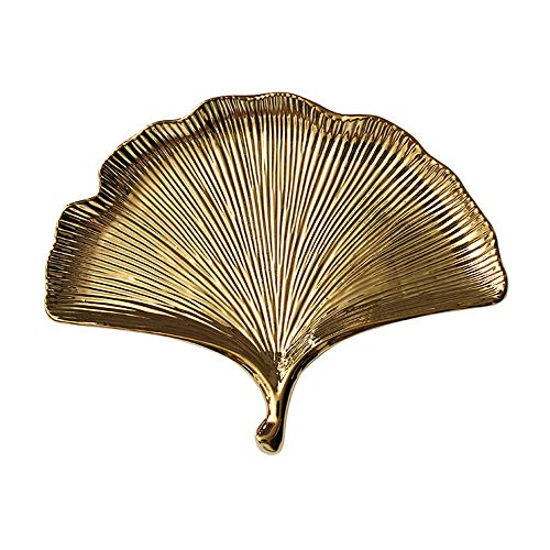 Creative Gold Ginkgo Shaped Ceramic Plate Leaf Irregularity Plate Snack Fruit Candy Dish Ornament Tray with Golden Edge Display Organizer Trinket Tray Perfect Gift for Mom Girlfriend