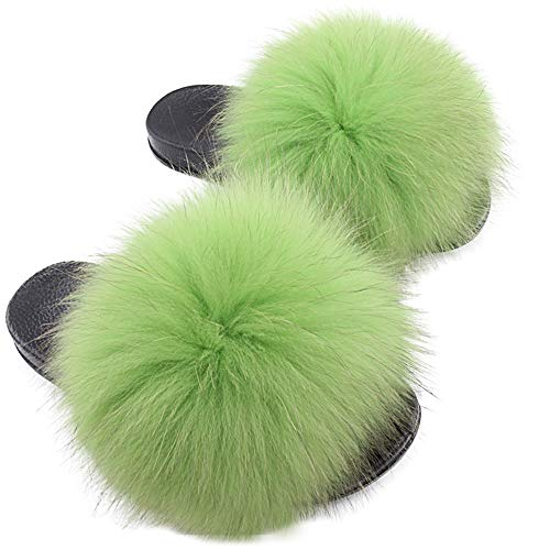 Yu He Womens Luxury Real Raccon Fur Slippers Slides Indoor Outdoor Flat Soles Soft Fall Winter Shoes Light Green 41
