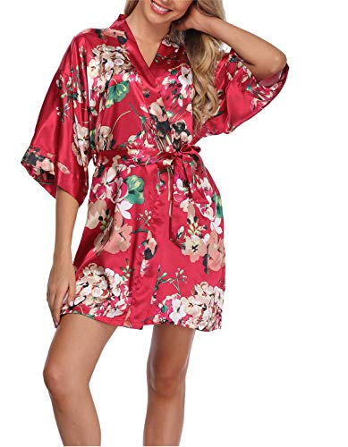 Women's Floral Satin Kimono Robes Short Bridesmaids Robes for Wedding Party Red