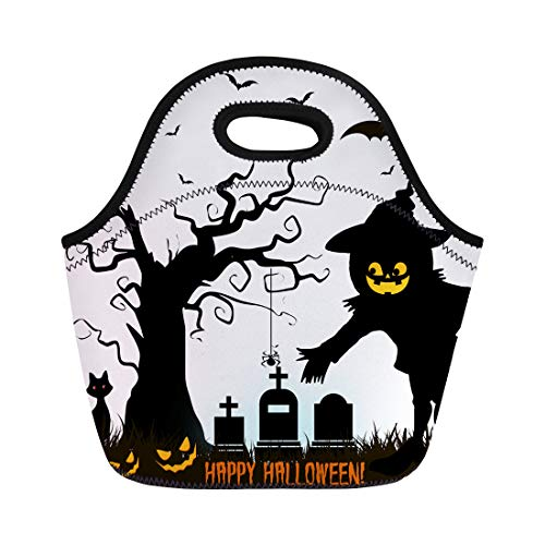 Semtomn Neoprene Lunch Tote Bag Holiday Halloween Silhouette of Pumpkin in the Cemetery Scary Reusable Cooler Bags Insulated Thermal Picnic Handbag for Travel,School,Outdoors,Work]()