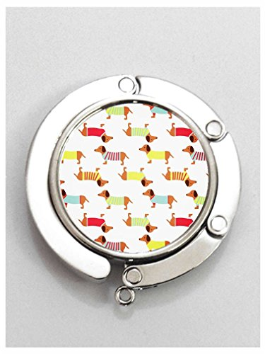 RainbowSky Dog Dachshund Puppy Wiener Dog Cute Animal Round Folding Handbag Hook Purse Hanger Holder -55 - Puppy Dog Handbag Purse Accessory