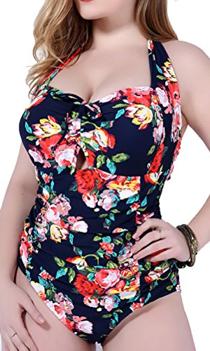 Women's Retro Floral Halter Vintage Ruched Fold Swimsuit Swimwear ,Navy,US XL/Asian 4XL