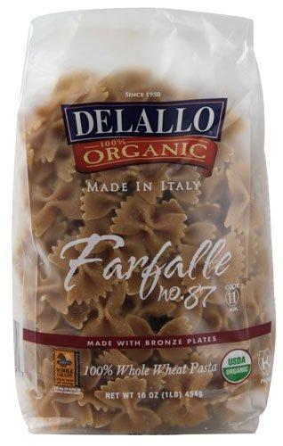 Delallo Organic Whole Wheat Pasta Farfalle No. 87 -- 16 oz - 2 pc