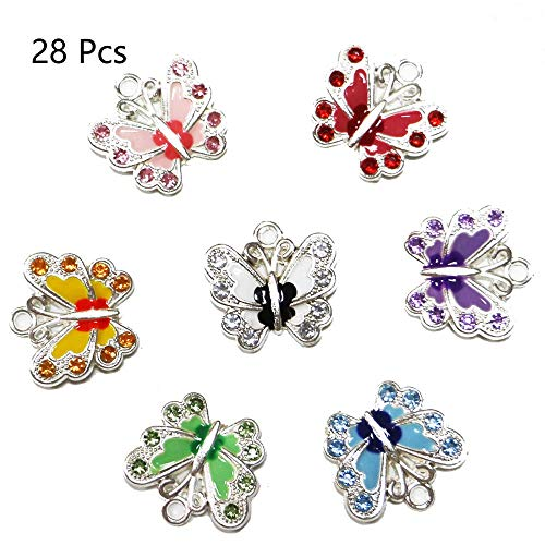 Enamel Butterfly Charm - fairy maker Silver Plated Small Butterfly Enamel Charm Beads Pendants for DIY Jewelry Making, 28pcs, Assorted Color
