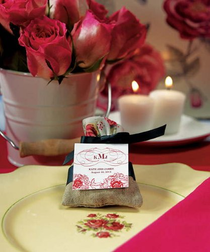 Mini Linen Drawstring Pouch With English Tea Rose Decorative Trim W9115 Quantity of 12 by Weddingstar Inc.