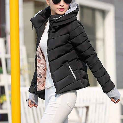 Zipper femmes mode manches la à matelassé pour de poches hiver épais Manteau Schwarz loisirs capuche élégant Vintage jeune chaud de les longues x1t8TwqF