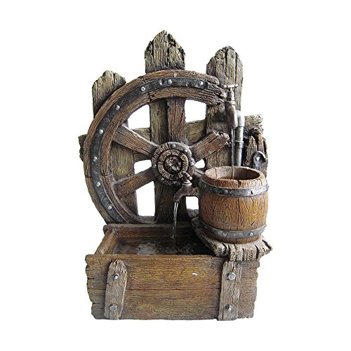 Rustic Wood Wagon Wheel Fountain Made w/ Resin and Stone in Brown 27.5'' H x 20.8'' W x 10.2'' D by Beckett Corporation