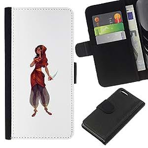 EJOY---La carpeta del tirón la caja de cuero de alta calidad de la PU Caso protector / Apple Iphone 5C / --Vestido de Mujer india Cuchillo princesa guerrera