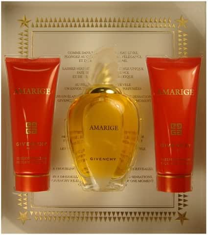 Amarige by Givenchy for Women 3 Piece Set Includes: 3.3 oz Eau de Toilette Spray + 2.5 oz Silk Body Veil + 2.5 oz Gentle Bath Gel