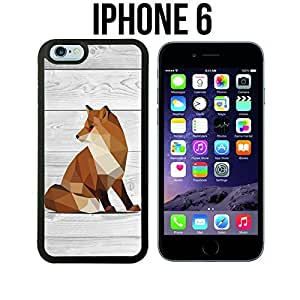 Geometric Fox on Wood Custom made Case/Cover/Skin for iPhone 6 - Black