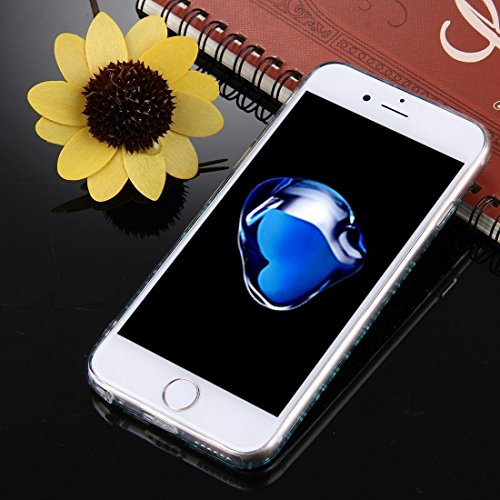 Wkae Grünes Glitter-Puder-Herz-Muster TPU Stoßrahmen-schützender harter rückseitiger Abdeckungs-Fall für iPhone 7