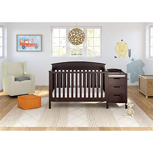 Graco Benton 4-in-1 Convertible Crib and Changer (Espresso) – Attached Changing Table with Water-Resistant Changing Pad, Space-Saving Storage with 3 Drawers and 3 Open Shelves