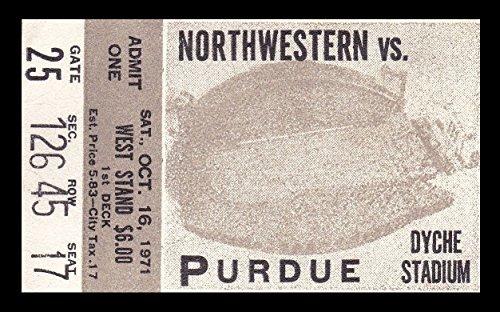1971 Northwestern v Purdue Football Ticket 10/16/71 Dyche Stadium (Northwestern Purdue Football)