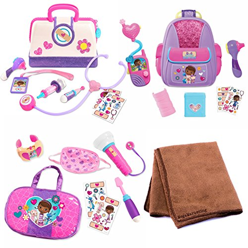 Doc McStuffins First Responders Backpack Set, Doc McStuffins Toy Hospital On Call Accessory Set, and Disney Junior Doc McStuffins Toy Hospital Doctor Bag with Cleaning Cloth, Bundle (Doc Mcstuffins Cast Costumes)