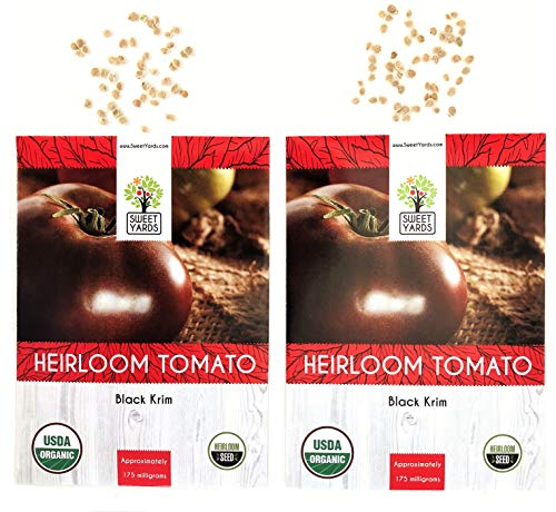 Organic Black Krim Tomato Seeds - 2 Seed Packets! - Over 100 Heirloom Non-GMO USDA Organic ()