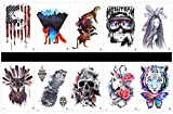 SPESTYLE 10pcs tattoo skull tattoos waterproof and non toxic real fake tattoos in 1 packages,including tiger,skull,skull with flowers,tiger with flower,etc.
